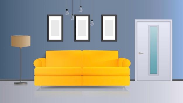 Illustrazione di un interno. divano giallo, porta bianca, piantana con paralume bianco, plafoniera bianca. interni realistici.