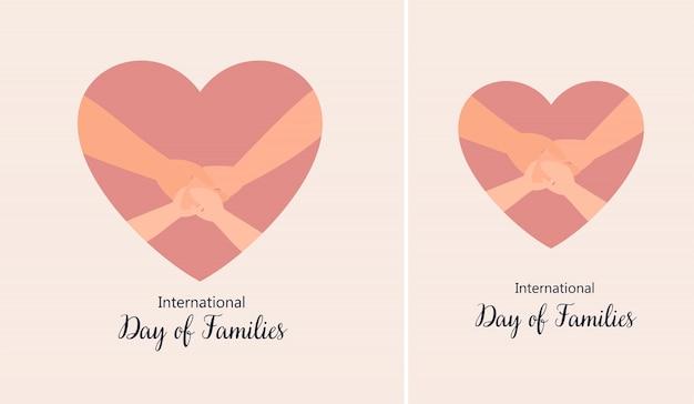 Illustrazione giornata internazionale delle famiglie con le mani nei cuori