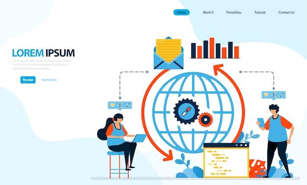 Illustrazione del sistema di caricamento di internet. meccanismo per la diffusione di e-mail e dati con codifica.