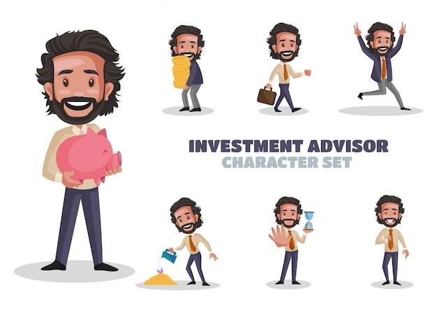 Illustrazione del set di caratteri del consulente per gli investimenti