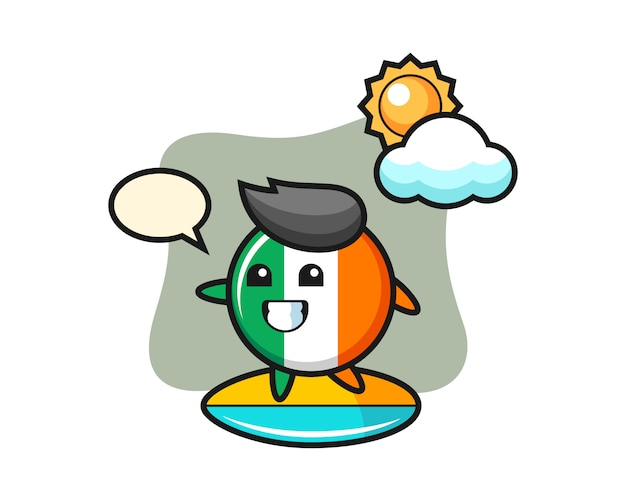 Illustrazione del fumetto distintivo della bandiera dell'irlanda fare surf sulla spiaggia