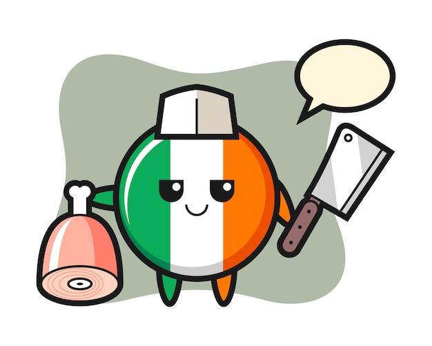 Illustrazione del carattere distintivo della bandiera dell'irlanda come un macellaio