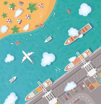 Illustrazione di un'isola in mezzo all'oceano