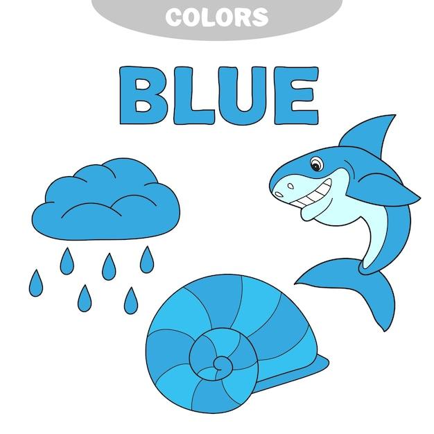 Illustrazione del vettore di gruppo di colore blu isolato - impara il colore. insieme di istruzione. illustrazione dei colori primari. archivio fotografico - pioggia, conchiglia, squalo