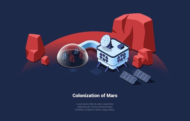 Illustrazione composizione isometrica sulla colonizzazione di marte idea su blu scuro