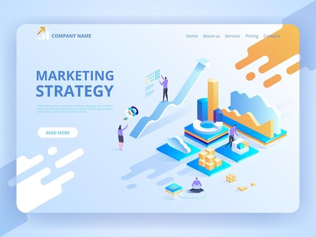Illustrazione concetto di design isometrico della strategia di marketing per sito web e sito web mobile.