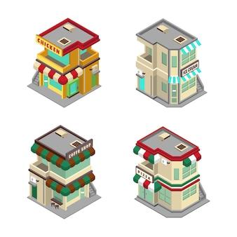 Illustrazione del disegno vettoriale del negozio di alimentari isometrico