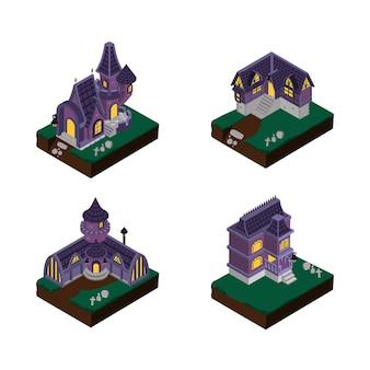 Illustrazione del disegno vettoriale isometrico della casa di helloween