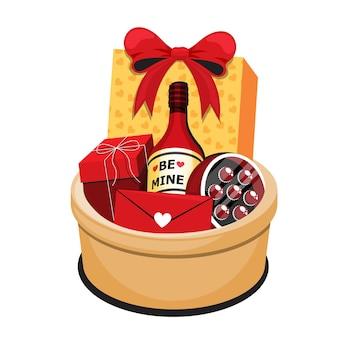 Oggetto isometrico dell'illustrazione del cesto regalo per la decorazione felice di san valentino isolato su priorità bassa bianca