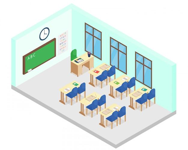 Illustrazione della classe di scuola isometrica. include tavolo, sedie, libri, lavagna in stile cartone animato piatto.