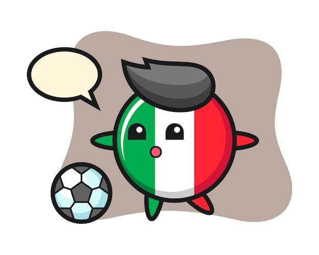 Illustrazione del fumetto distintivo della bandiera dell'italia sta giocando a calcio, stile carino, adesivo, elemento logo