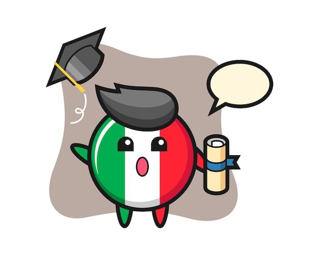 Illustrazione del fumetto del distintivo della bandiera dell'italia che getta il cappello alla laurea, stile sveglio, adesivo, elemento di logo