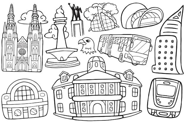 Illustrazione dello scarabocchio del paesaggio urbano di jakarta in stile cartone animato