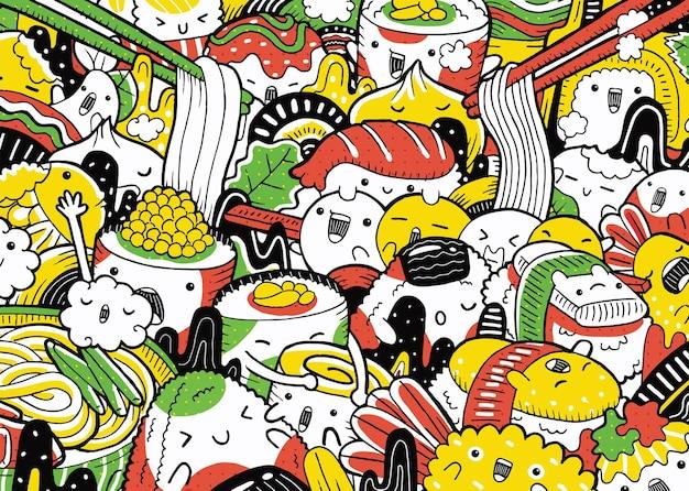 Illustrazione del personaggio del cibo giapponese nel porcile dei cartoni animati