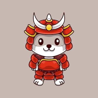 Illustrazione del gatto samurai giapponese