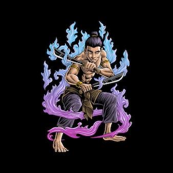 Illustrazione del guerriero giapponese