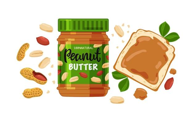 Illustrazione di un barattolo di burro di arachidi, pane e arachidi isolato su uno sfondo bianco.