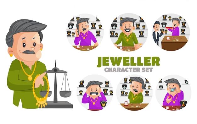 Illustrazione di set di caratteri gioielliere