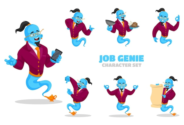 Illustrazione di set di caratteri genie di lavoro
