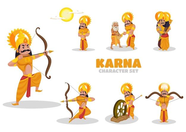 Illustrazione del set di caratteri di karna