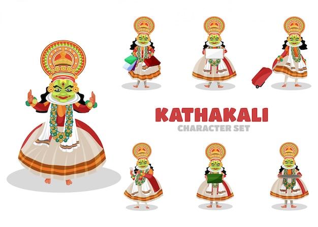 Illustrazione del set di caratteri kathakali