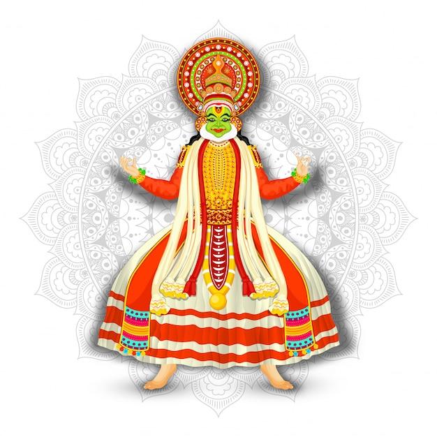 Illustrazione del ballerino di kathakali sul fondo bianco del modello della mandala.