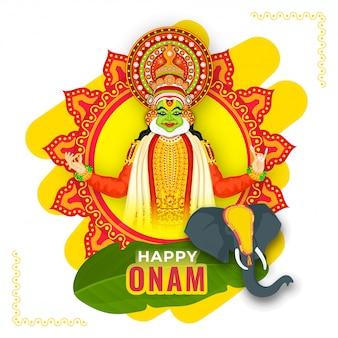 Illustrazione del ballerino di kathakali con la faccia dell'elefante e la foglia della banana su mandala frame gialla e rossa per la celebrazione felice di onam.