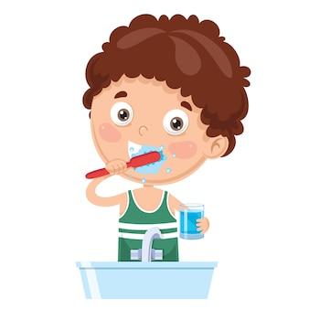 Illustrazione dei denti di spazzolatura del bambino