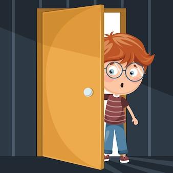 Illustrazione del bambino che entra nella stanza scura