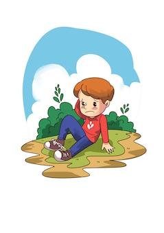 Illustrazione del bambino cadere a terra