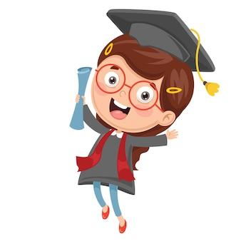 Illustrazione del bambino che si laurea