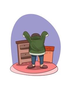 Illustrazione del ragazzo che indossa un maglione