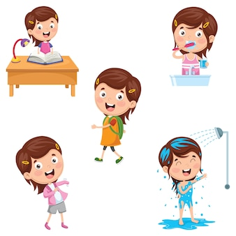 Illustrazione delle attività di routine quotidiane dei bambini