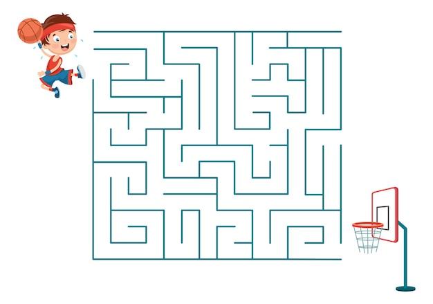 Illustrazione dei bambini che giocano a pallacanestro labirinto