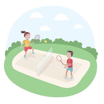 Illustrazione di bambini che giocano a tennis nel parco