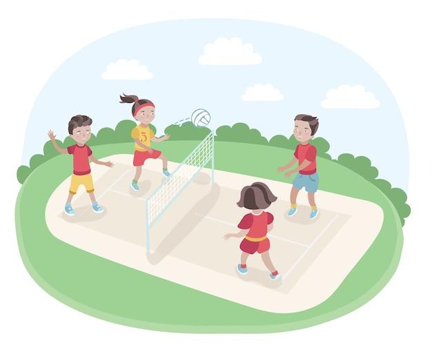 Illustrazione di bambini che giocano a pallavolo nel parco