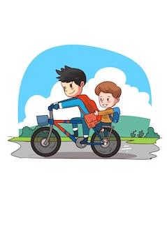Illustrazione di bambini che guidano in bicicletta