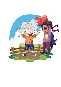 Illustrazione di bambini che lavano fango