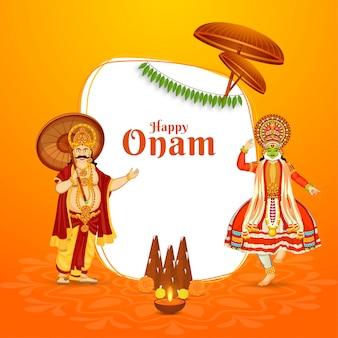Illustrazione del re mahabali con la classica ballerina kathakali, thrikkakara appan idol e la lampada a olio illuminata (diya) su sfondo arancione e bianco per la felice celebrazione di onam.