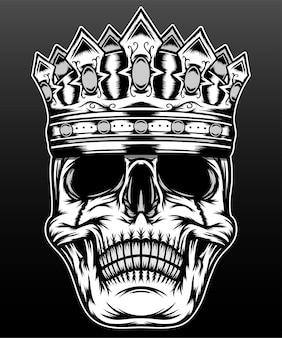 Illustrazione del re cranio isolato sul nero