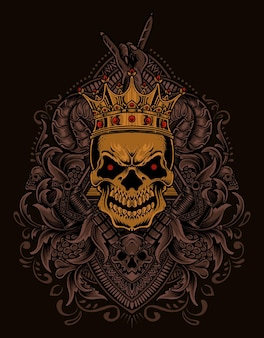 Illustrazione del teschio del re con ornamento di incisione vintage