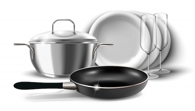 Illustrazione di piatti da cucina, padella e pentola con una copertura. isolato su bianco