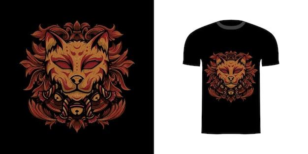 Illustrazione kitsune con ornamento incisione per tshirt desig Vettore Premium
