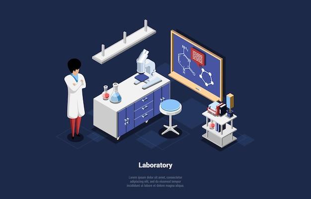 Illustrazione di laboratorio e scienziato su blu scuro