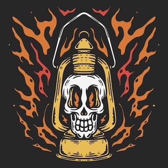Illustrazione della lampada con copertura del teschio ad olio con fuoco in stile vintage su sfondo nero