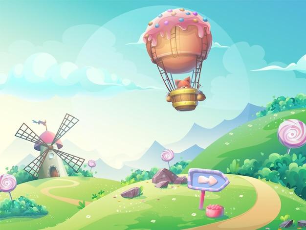 Illustrazione di un paesaggio con mulino di caramelle marmellata e volpe in dirigibile.