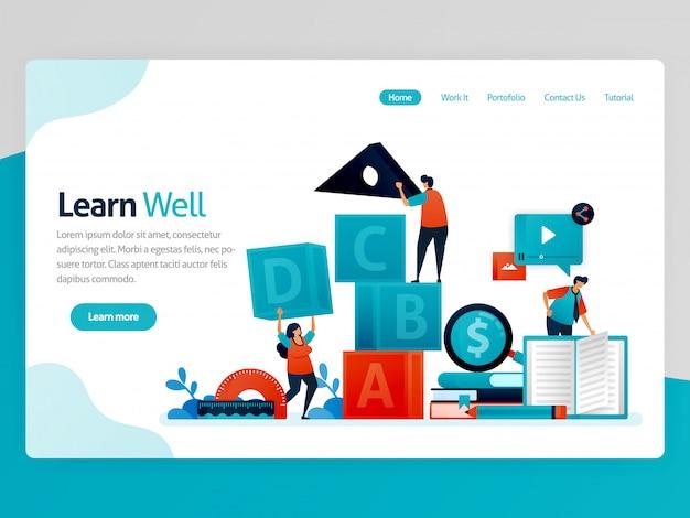 Illustrazione per imparare bene landing page. imparare bene, formare il lavoro di squadra e la leadership, imparare e giocare. gioco di intelligenza per la numerazione degli studenti
