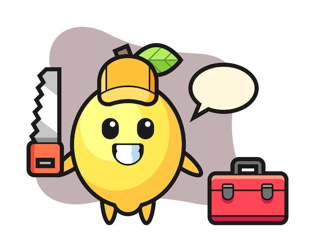 Illustrazione del carattere del limone come falegname