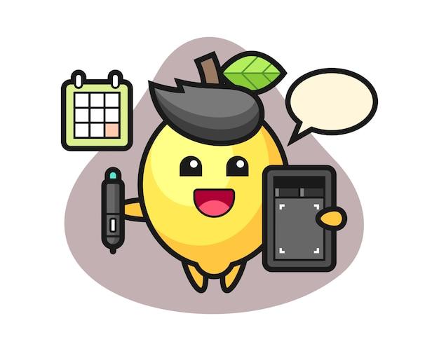 Illustrazione della mascotte del limone come graphic designer