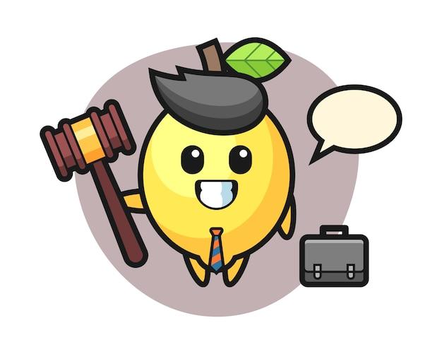 Illustrazione della mascotte del limone come avvocato